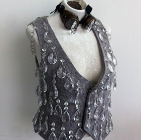 """Chandelier Crystal Vest with Spectacle Enhancers. 18"""" x 16"""" x 24"""". Industrial felt with cotton thread, chandelier crystals, and wire with found goggles. 2014"""