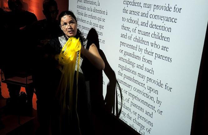 Maria Hupfield, Artist Tour Guide: McCord (2014), performance, McCord Museum, Montreal. Photo: Aimée Rochard.